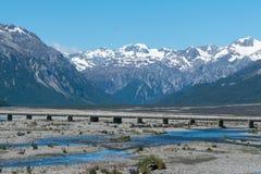 Śnieżna halna Nowa Zelandia krajobrazu Auther's przepustka Zdjęcie Stock