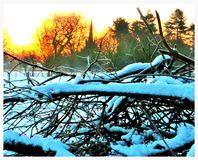 Śnieżna kościelna scena Fotografia Stock