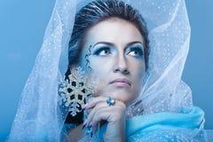 Śnieżna królowa i płatek śniegu Obrazy Royalty Free