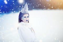 Śnieżna królowa w zimy fantazji krajobrazie - Piękny princess z lodową koroną w zimy ziemi fotografia royalty free