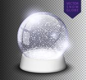 Śnieżna kula ziemska odizolowywający szablon pusty na przejrzystym tle Bożenarodzeniowa magiczna piłka Realistyczna Xmas snowglob Zdjęcia Royalty Free