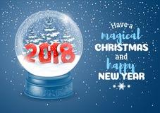 Śnieżna kula ziemska z 2018 cyframi Fotografia Royalty Free