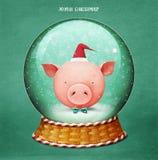 Śnieżna kuli ziemskiej świnia obrazy royalty free