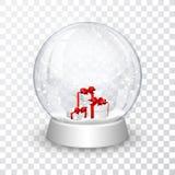 Śnieżna kuli ziemskiej piłka z prezentów pudełek nowego roku chrismas realistycznym przedmiotem odizolowywającym na transperent t ilustracja wektor