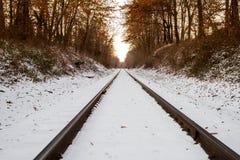 Śnieżna linia kolejowa Fotografia Royalty Free