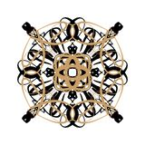 Śnieżna różyczka lub kwiat, orientalny ornament na białym tle, zima wakacje projekt ilustracji