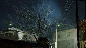 Śnieżna scena w starym miasteczku zbiory