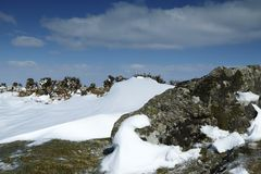 Śnieżna sceneria w Dartmoor parku narodowym Obraz Stock