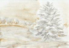Śnieżna sosna malujący tło royalty ilustracja