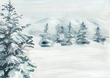 Śnieżna sosna malujący tło ilustracja wektor