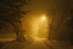 śnieżna tajemnicza ścieżka obraz stock