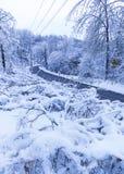 Śnieżna wiejska droga Obrazy Royalty Free