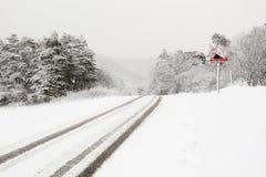 Śnieżna wiejska droga Fotografia Royalty Free