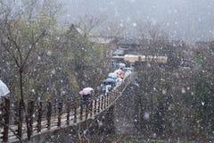 Śnieżna wiosny Czereśniowego okwitnięcia Shirakawago góry domu mosta Drzewna architektura Japonia Fotografia Stock