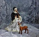 Śnieżna wnuczka dziadu mrozu bożych narodzeń wciąż życie Malować mokrą akwarelę na papierze Naiwna sztuka sztuka abstrakcyjna royalty ilustracja