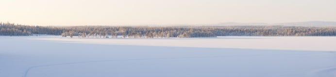 Śnieżna zima krajobrazu panorama zdjęcie royalty free