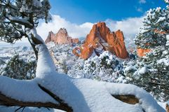 Śnieżna zima scena Obrazy Stock