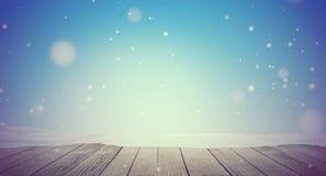 Śnieżna zimy tła 3d-illustration drewniana podłoga z snowfla ilustracji