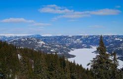 Śnieżne góry i fjord Obraz Royalty Free