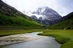 Śnieżne góry i strumienie Fotografia Royalty Free