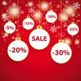 Śnieżnego Czerwonego tła Baubles Biała sprzedaż Zdjęcie Stock