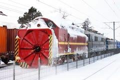 Śnieżnego usunięcia pociąg Zdjęcia Royalty Free