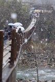 Śnieżnego zimy wiosny mosta Shirakawago góry domu Rzeczna Drzewna architektura Japonia Obrazy Stock
