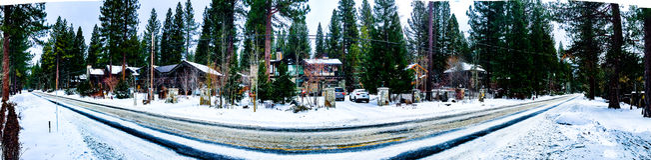 Śnieżnej drogi panorama fotografia royalty free