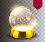 Śnieżnej kuli ziemskiej pusty szablon odizolowywający na przejrzystym tle Bożenarodzeniowa magiczna piłka Realistyczna Xmas snowg ilustracja wektor
