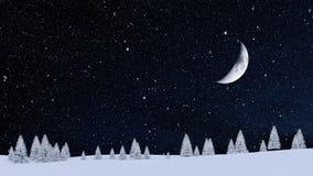 Śnieżnej zimy jedlinowy las przy opad śniegu nocą 4K