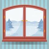 Śnieżnej zimy plenerowy widok w drewnianym okno, zima krajobrazie z świerkowymi drzewami przez okno, wieś domu, lub ilustracja wektor