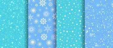 Śnieżni bezszwowi wzory ustawiający Zimy powtórki tekstura płatek śniegu tła kolekcja miecielica szablonu tapeta może ilustracja wektor