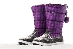 Śnieżni buty na bielu Obrazy Royalty Free