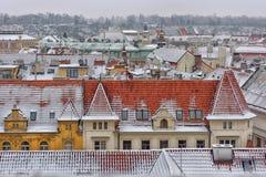 Śnieżni dachy Prag Obraz Stock