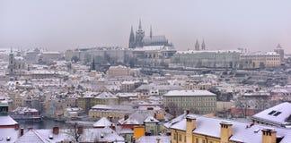 Śnieżni dachy Prag Fotografia Royalty Free