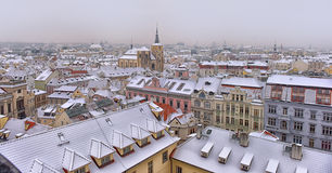 Śnieżni dachy Prag Zdjęcie Royalty Free