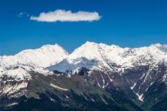 Śnieżni halni wierzchołki zakrywają z lasem zdjęcie stock