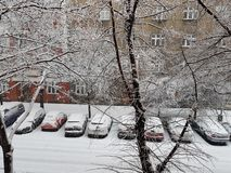 Śnieżni samochody zdjęcie royalty free