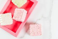 Śnieżni skór mooncakes Zdjęcia Royalty Free