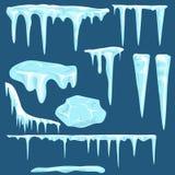 Śnieżni sople, śnieg nakrętki ustawiać royalty ilustracja