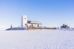 Śnieżny Biały kościół Obraz Royalty Free