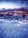 Śnieżny Bożenarodzeniowy tło obrazy royalty free