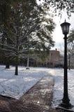 Śnieżny chodniczek z lampionem zdjęcie stock
