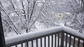 Śnieżny dzień na balkonie obraz royalty free