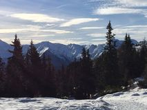 Śnieżny góra krajobraz w vipiteno w trentino alcie Adige Obraz Stock