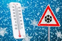 Śnieżny huragan, miecielicy i subzero temperatury pojęcie, 3D r royalty ilustracja