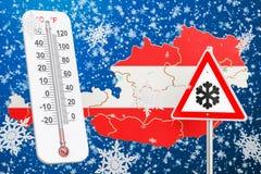 Śnieżny huragan, miecielicy i zima, szalejemy w Austria pojęciu, 3 royalty ilustracja