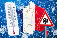 Śnieżny huragan, miecielicy i zima, szalejemy w Francja pojęciu, 3D royalty ilustracja