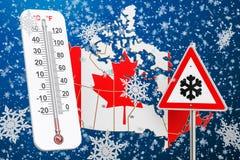 Śnieżny huragan, miecielicy i zima, szalejemy w Kanada pojęciu, 3D ilustracja wektor