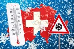 Śnieżny huragan, miecielicy i zima, szalejemy w Szwajcaria concep ilustracja wektor